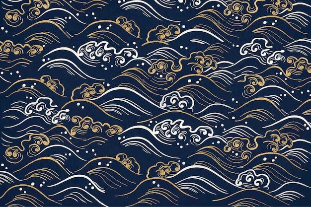 Fondo de patrón de onda azul, con obras de arte de dominio público