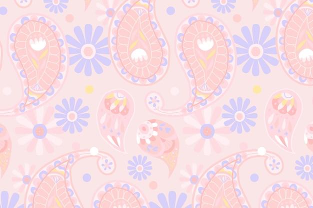 Fondo de patrón de paisley indio rosa pastel