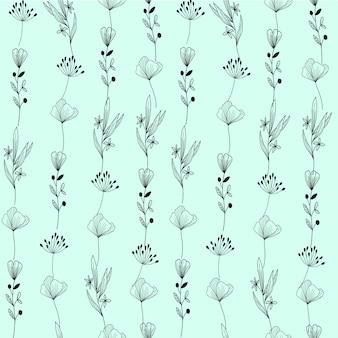 Fondo de patrón de plantas dibujado a mano