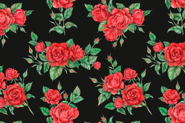 Fondo de patrón de rosa roja