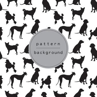 Fondo y patrón de silueta de perro