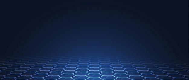 Fondo de patrón de tecnología abstracta azul hexágonos