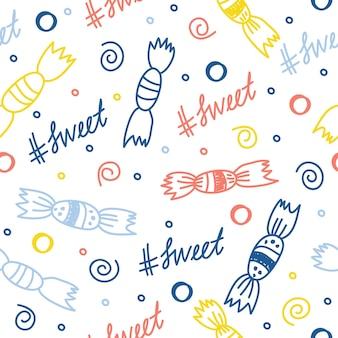 Fondo de patrón de textil de tela sin costuras impresión de muestra de tela de doodle de bebé