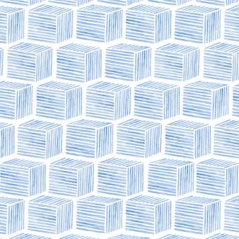 Fondo de patrón transparente cúbico acuarela