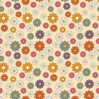 Fondo de patrón transparente floral colorido retro minimalista