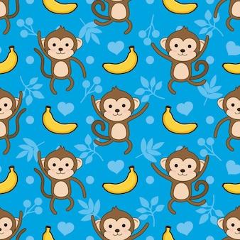 Fondo de patrón de vector de mono y plátano inconsútil