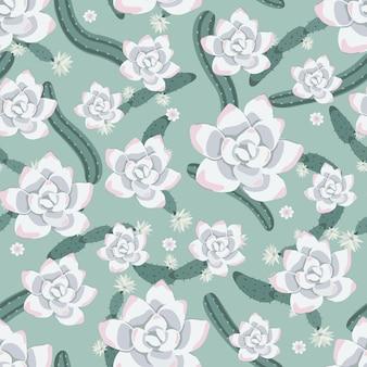 Fondo de patrones de cactus y flores suculentas