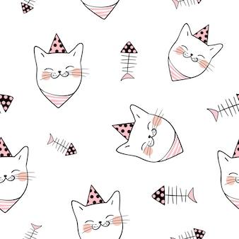 Fondo de patrones sin fisuras cabeza de gato en blanco