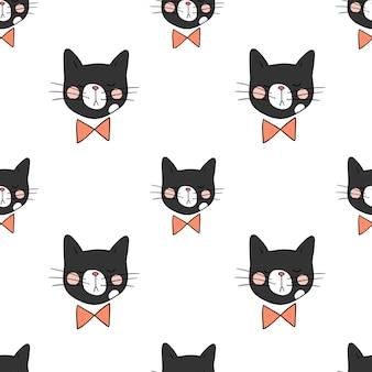 Fondo de patrones sin fisuras cabeza de gato negro sobre blanco
