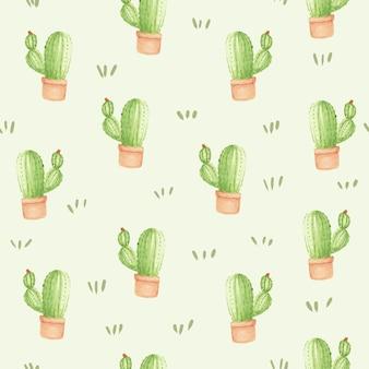 Fondo de patrones sin fisuras cactus acuarela