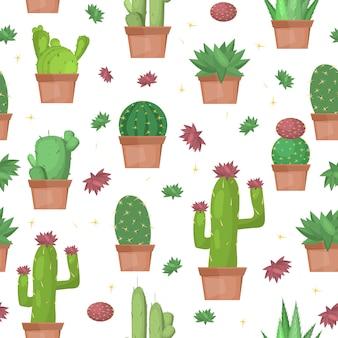 Fondo de patrones sin fisuras de cactus