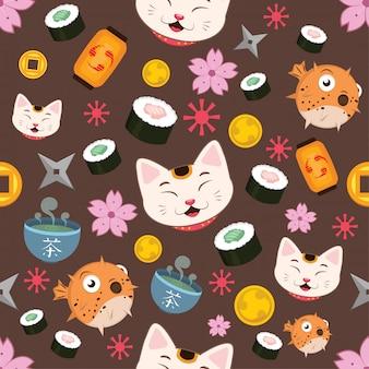 Fondo de patrones sin fisuras con elementos japoneses