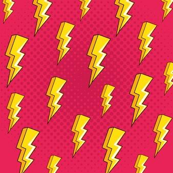 Fondo de patrones sin fisuras de estilo de arte pop de rayos
