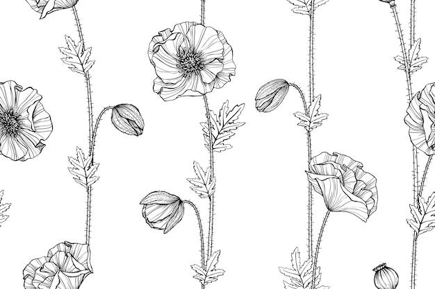 Fondo de patrones sin fisuras de la flor de amapola.