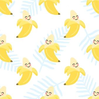 Fondo de patrones sin fisuras de fruta de verano de plátano lindo