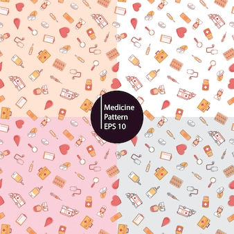 Fondo de patrones sin fisuras de iconos de medicina saludable