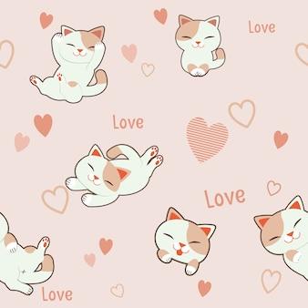 El fondo de patrones sin fisuras del personaje lindo gato con corazón. el patrón rosa corazón y texto amor.