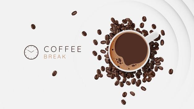 Fondo de pausa para café con taza de café y combinación de colores pastel