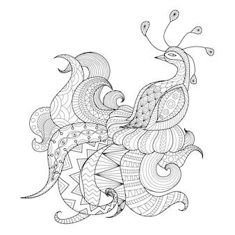 Fondo de pavo real dibujado a mano