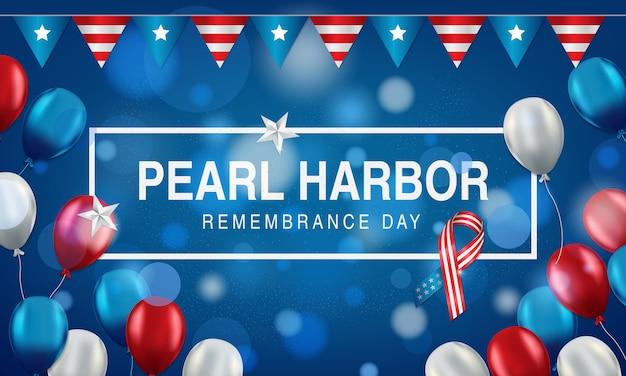 Fondo de pearl harbor con banderas americanas, globos en rojo, blanco y azul.