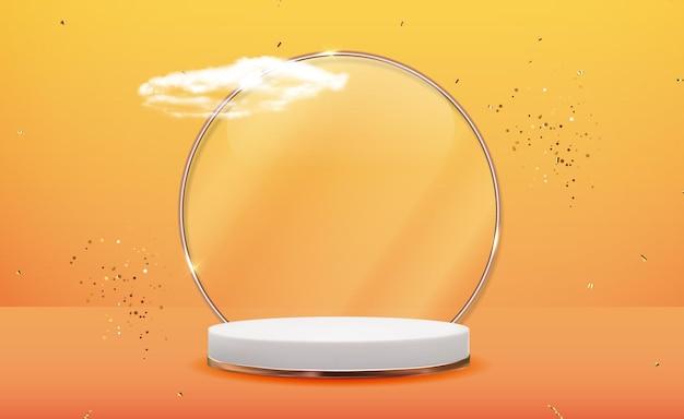 Fondo de pedestal 3d blanco con marco de anillo de vidrio dorado, nubes realistas y cinta de confeti. pantalla de podio vacía de moda