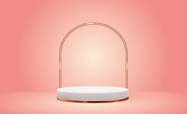 Fondo de pedestal 3d blanco con marco de anillo de vidrio dorado en rosa para presentación de productos cosméticos revista de moda