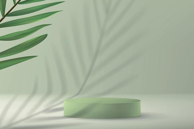 Fondo con pedestal vacío para exponer el producto en estilo minimalista con planta de palmera y sombra en verde pastel.