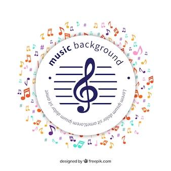 Fondo de pegatina circular con notas musicales de colores