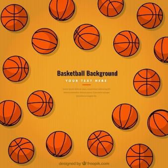 Fondo de pelotas de baloncesto dibujadas a mano