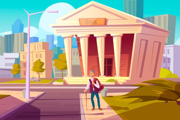 Fondo de pensiones, concepto de dibujos animados de ahorro de dinero del banco