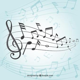 Fondo de pentagrama con notas musicales