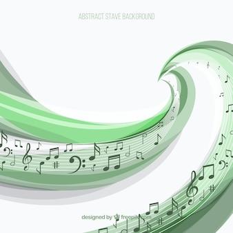 Fondo de pentagrama verde con notas musicales