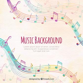 Fondo de pentagramas de colores con notas musicales