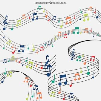 Fondo de pentagramas con notas musicales de colores