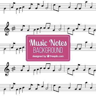 Fondo de pentagramas con notas musicales