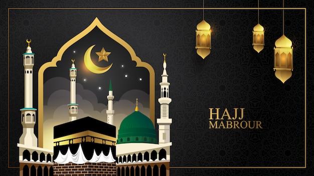 Fondo de peregrinación islámica, concepto de hajj y umrah con mezquita kaaba y nabawi