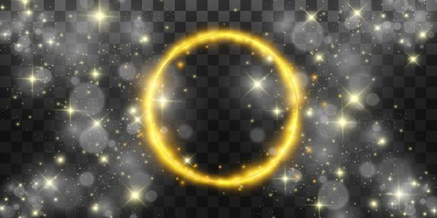 Fondo perfecto brillante redondo. eps10 luz hermosa. circulo mágico. fondo precioso marco redondo dorado brillante con ráfagas de luz.