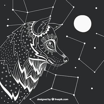 Fondo de perfil de lobo dibujado a mano con constelaciones y luna