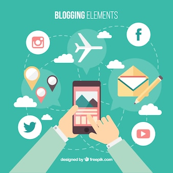 Fondo de persona con móvil y elementos de blog en diseño plano