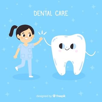 Fondo de personaje de dentista en diseño plano