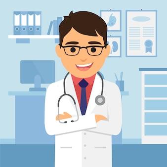 Fondo con personaje de doctor