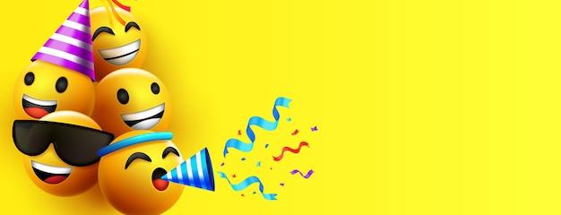 Fondo de personaje de emoticonos emoji o fondo de año nuevo