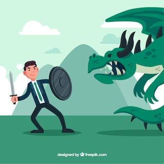 Fondo de personaje de negocios peleando con dragón
