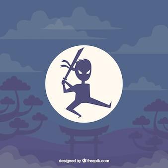 Fondo con personaje de ninja dibujado a mano