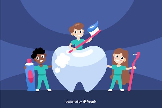 Fondo con personajes dentistas
