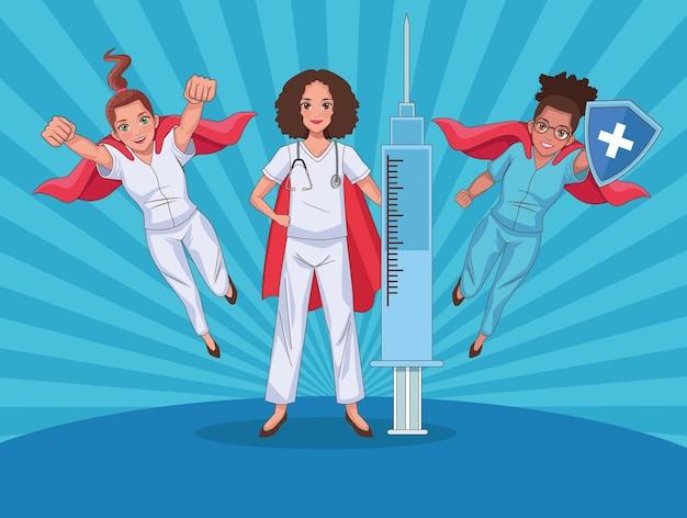 Fondo de personal de médicos de héroes con tres personajes.