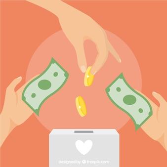 Fondo de personas haciendo una donación