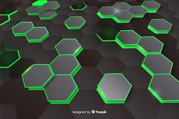Fondo de perspectiva hexagonal tecnológica