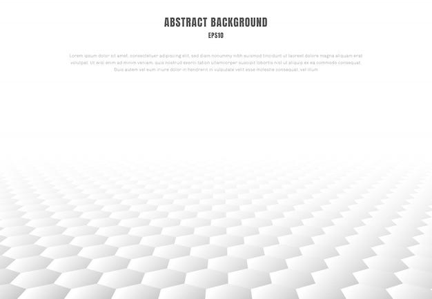 Fondo de perspectiva de patrón de hexágonos blancos abstractos