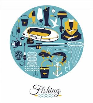 Fondo de pesca en círculo.
